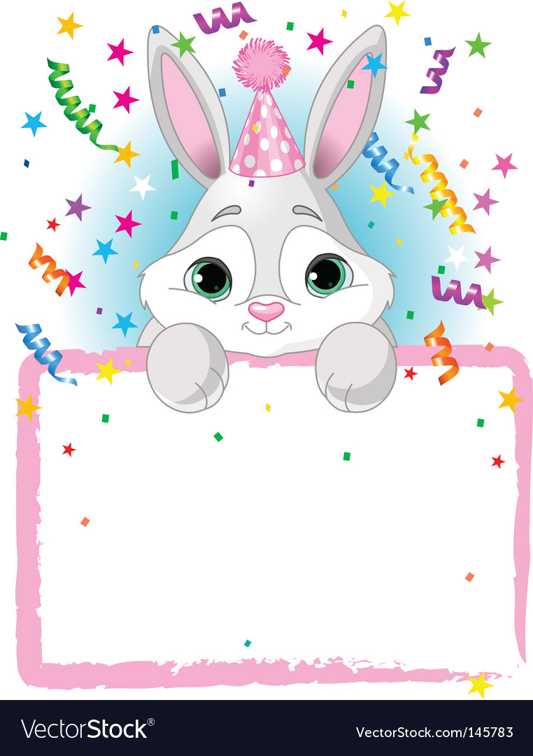 Bunny birthday invitation vector