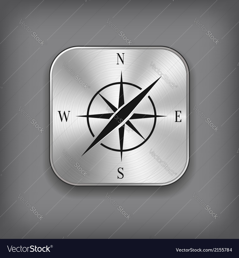 Compass icon  metal app button vector
