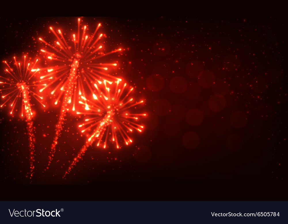 Festive red firework background vector