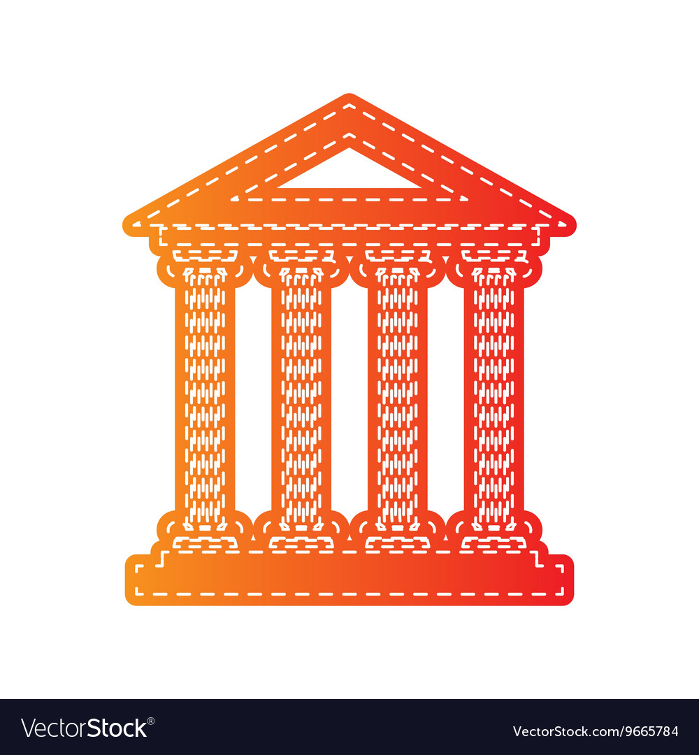 Historical building orange applique vector