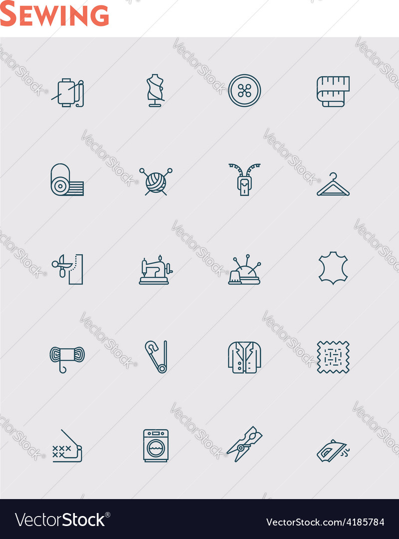 Linear sewing icon set vector