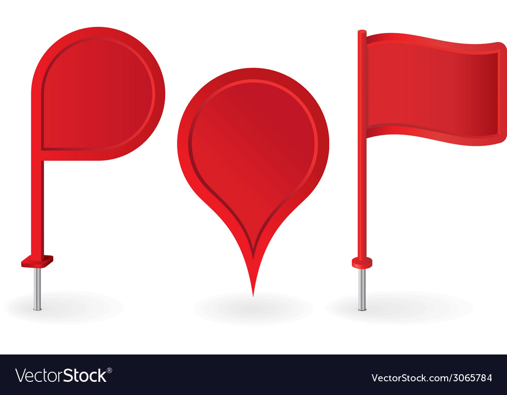 Set of red map pointers pin icons vector