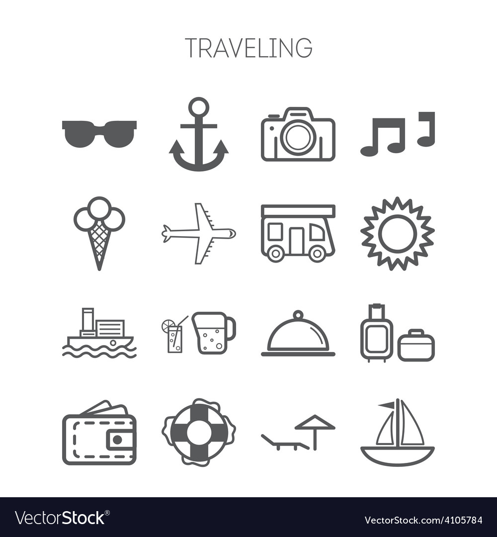 Set of simple icons for traveling vector