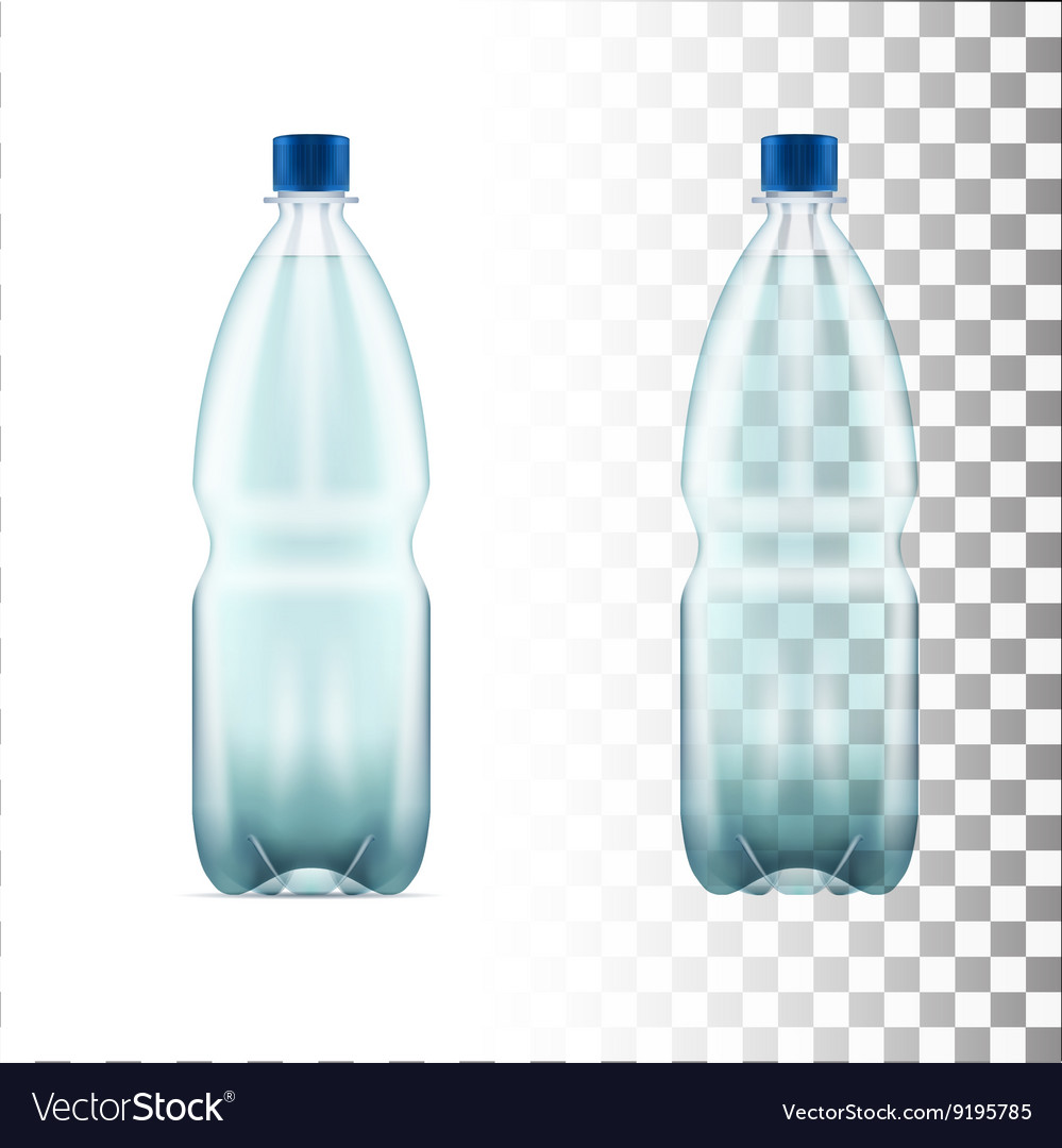 Blank plastic blue water bottle transparent vector