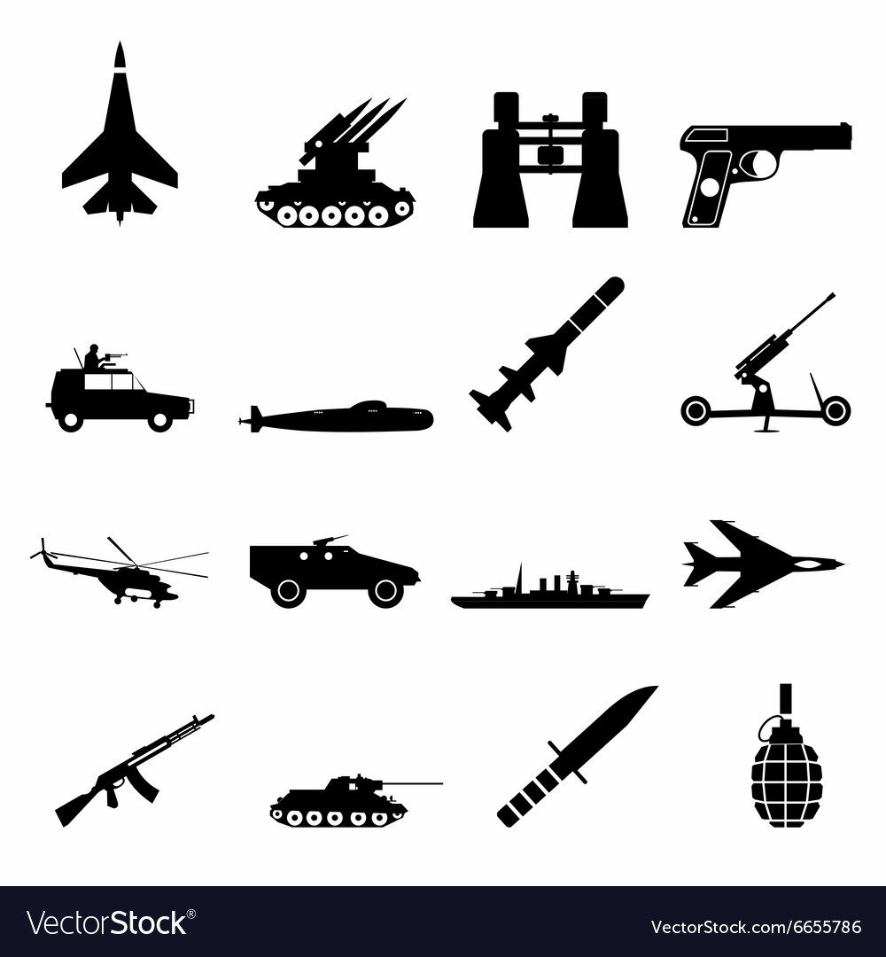 16 weapon simple icons set vector