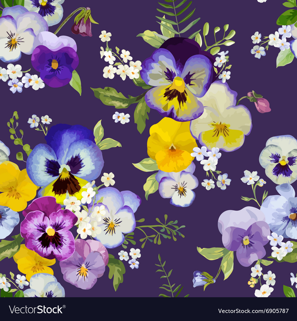 Pansy flowers background  seamless floral pattern vector