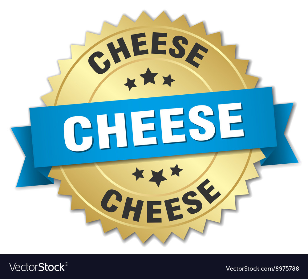 Cheese 3d gold badge with blue ribbon vector