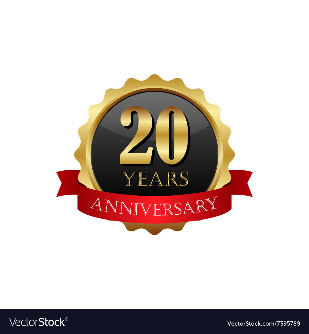 20 years anniversary golden label with ribbons vector
