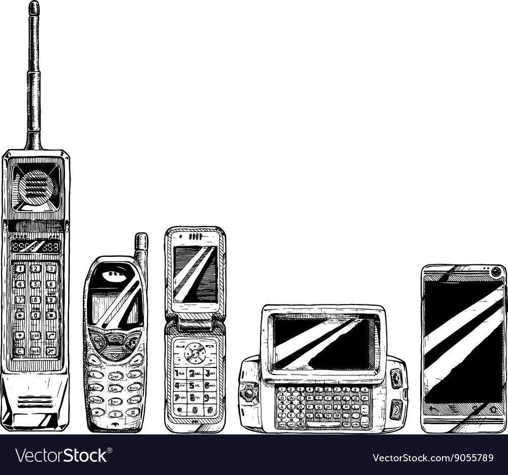 Evolution set of mobile phone vector