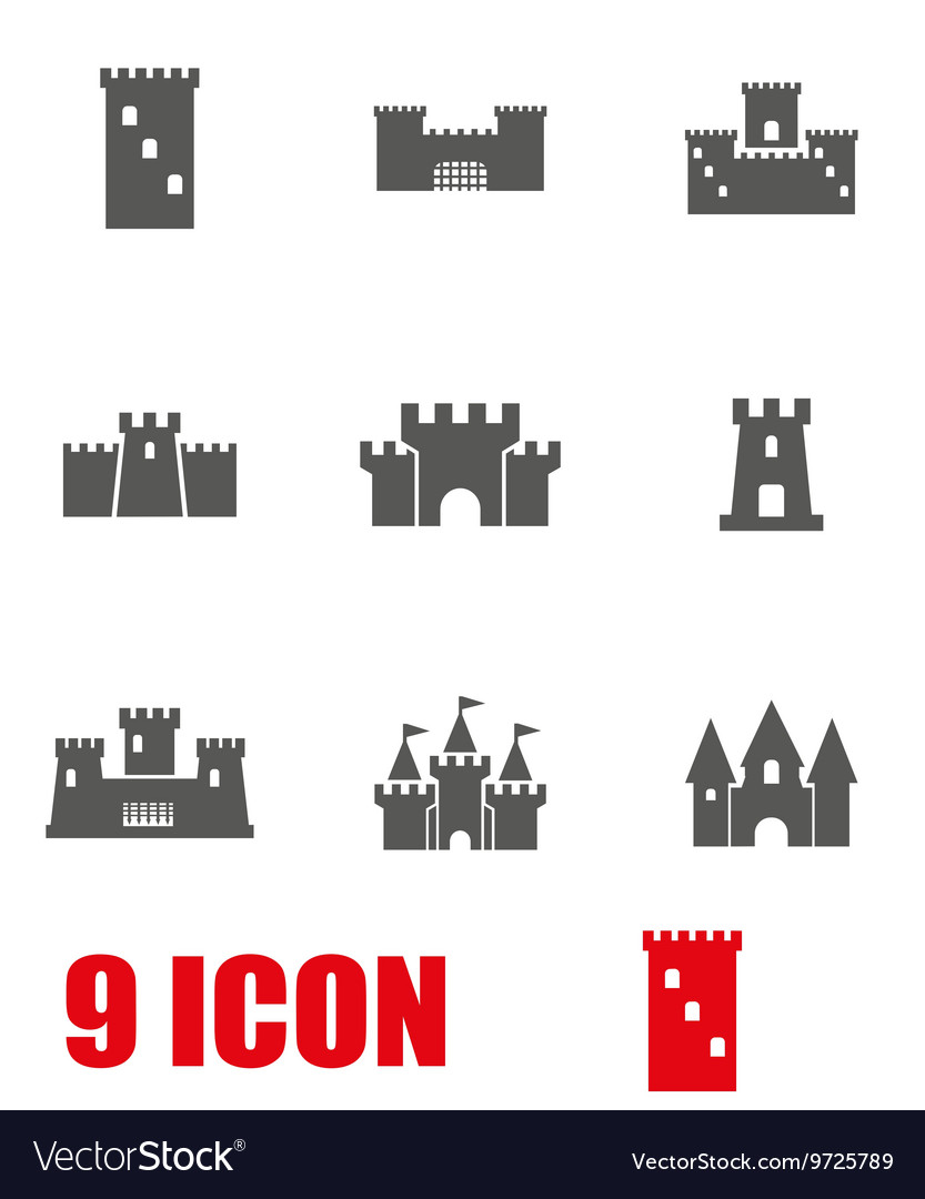 Grey castle icon set vector
