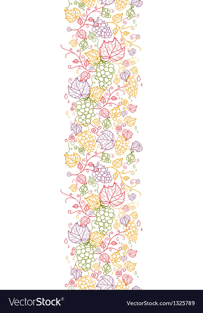 Line art grape vines vertical seamless pattern vector