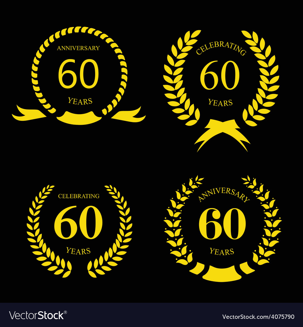 Sixty years anniversary signs laurel gold wreath vector