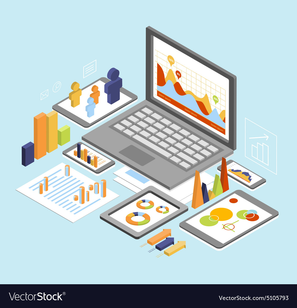 Business analysis isometric vector