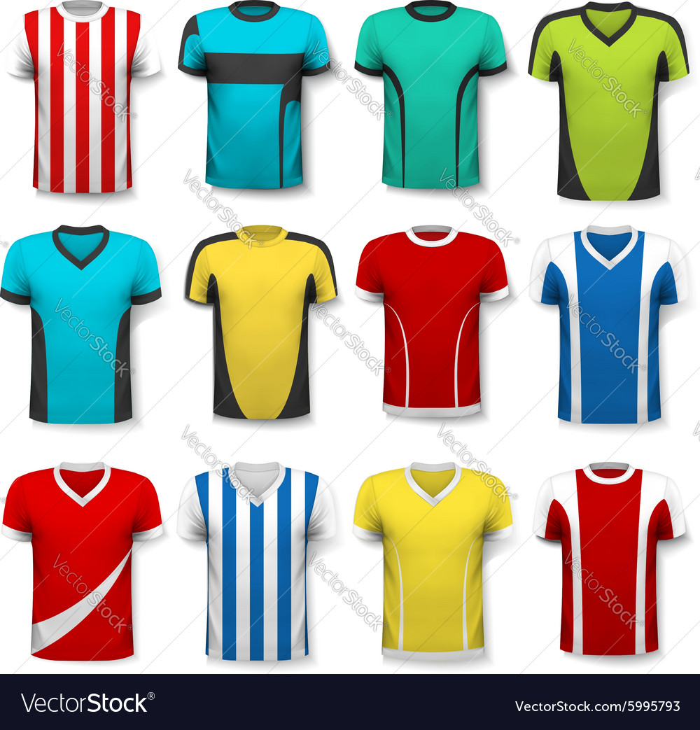 Collection of various soccer jerseys the tshirt vector