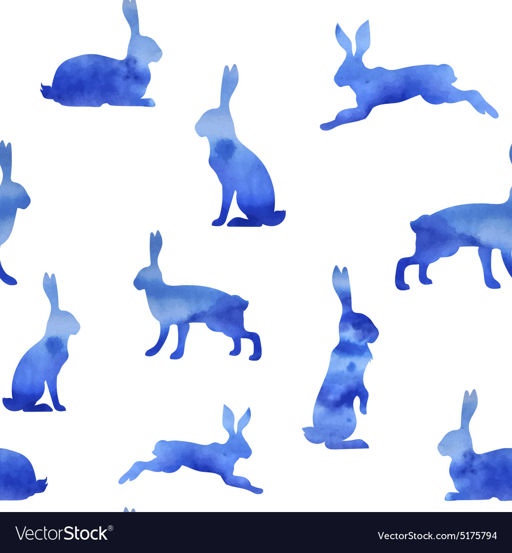 Pattern watercolor hare vector