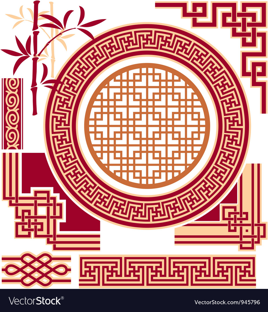 Set of oriental  chinese  design elements vector