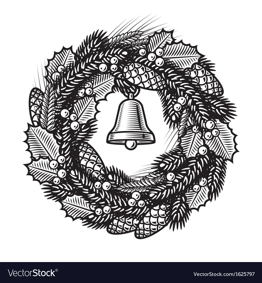 Retro christmas wreath black and white vector