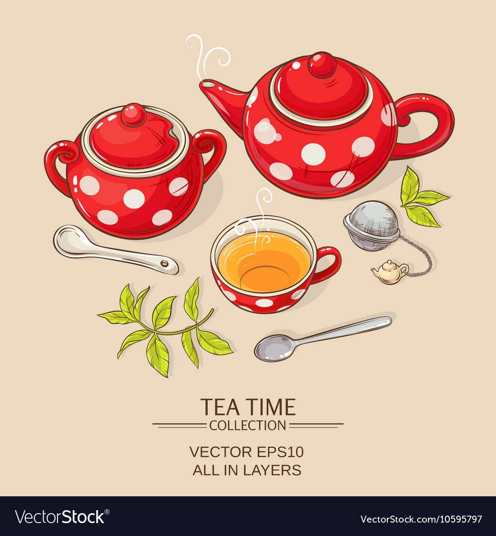 Tea set red vector
