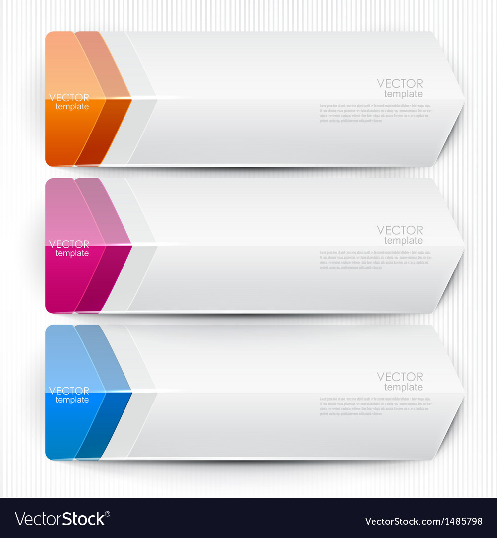 Colorful bookmarks arrows banners for text vector