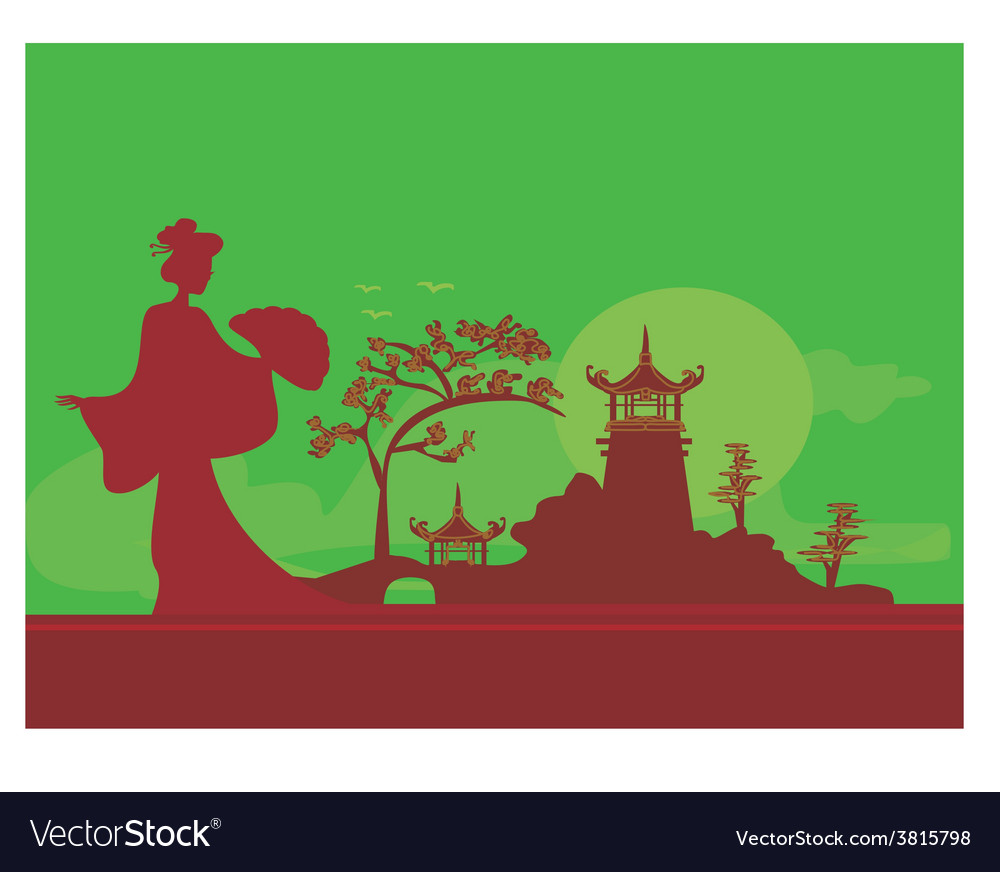 Geisha silhouette on the shore on abstract asian vector