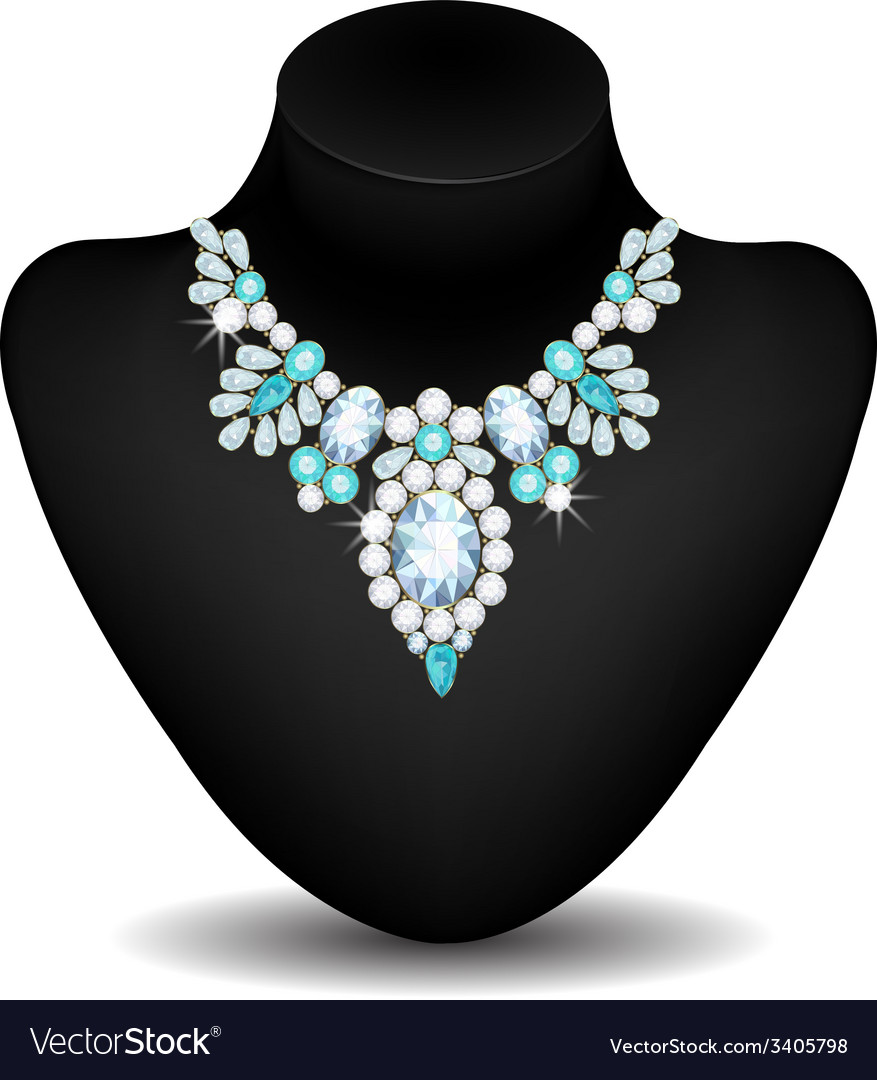 Necklace of diamonds vector