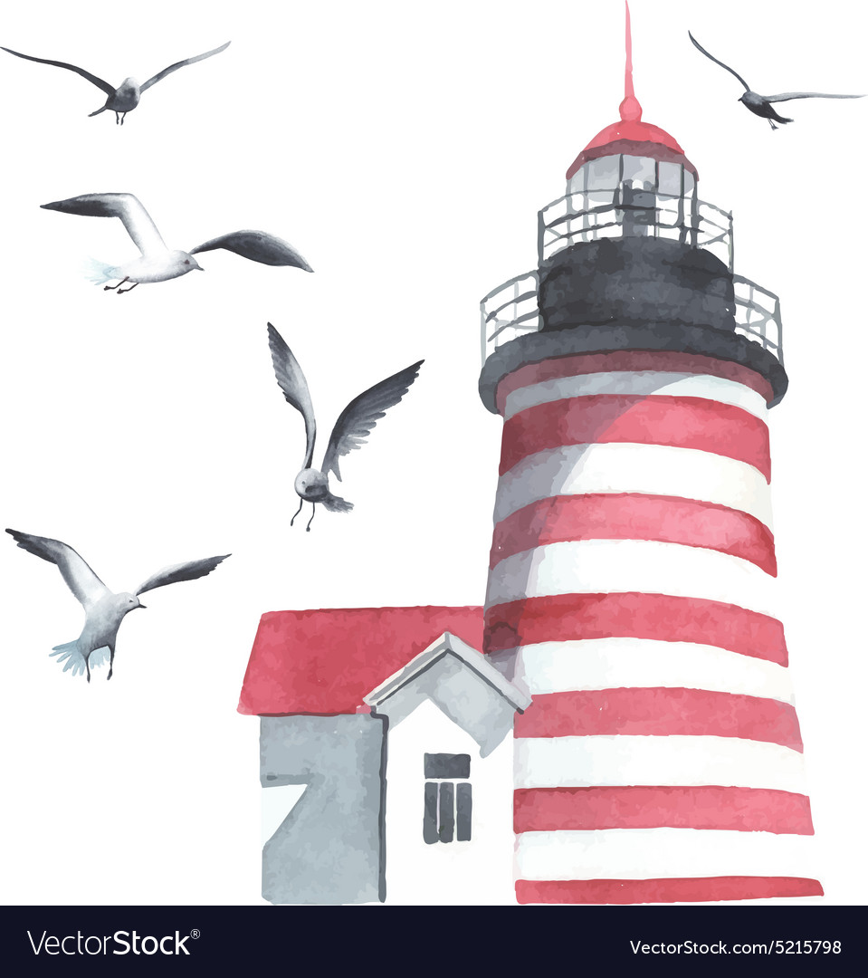 Watercolor lighthouse and seagulls vector