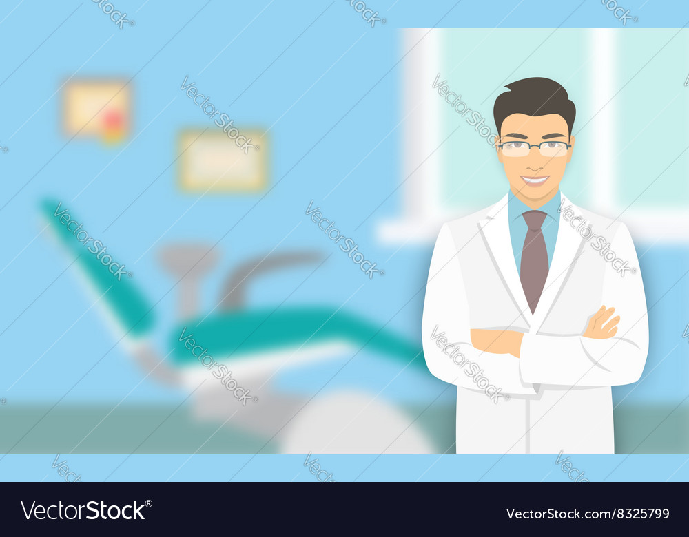 Asian man dentist at a dental office vector