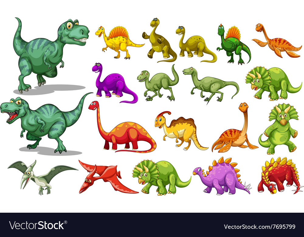 Different kind of dinosaurs vector