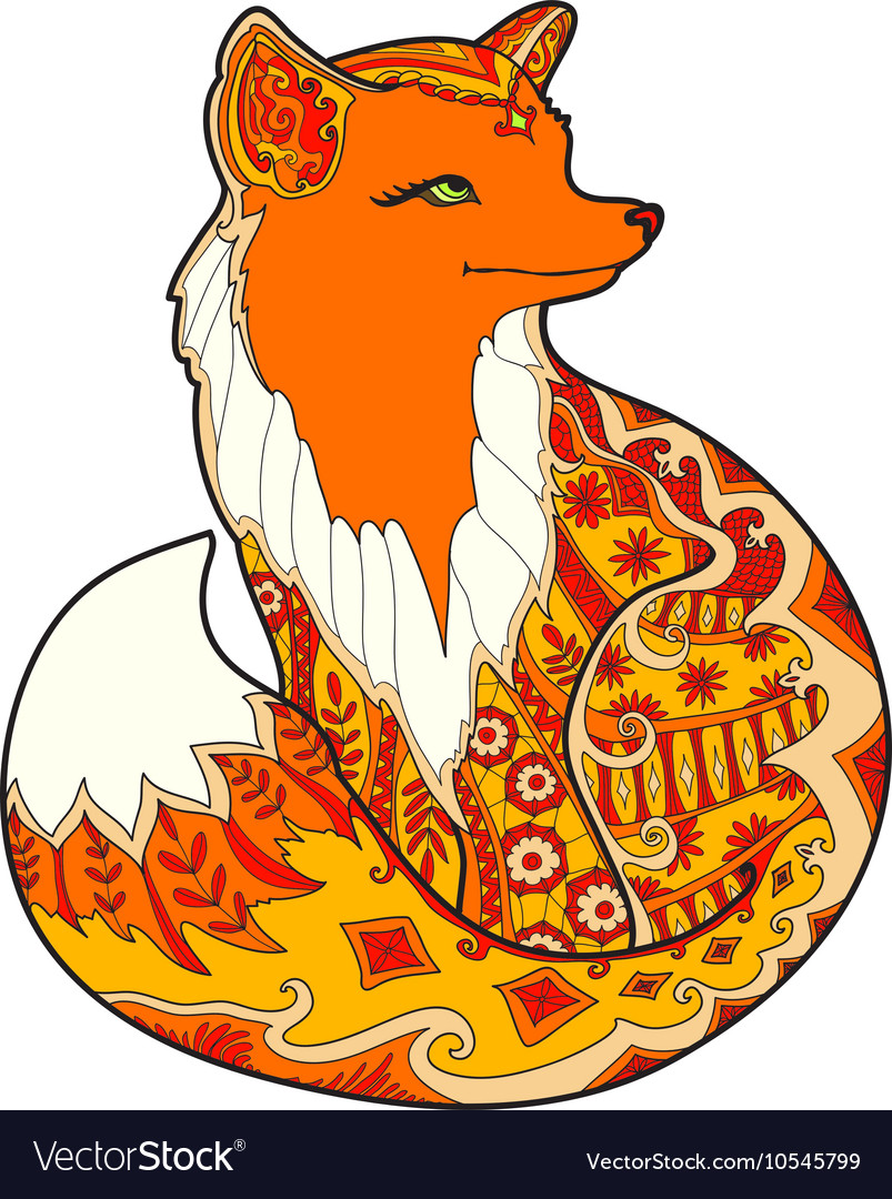 Fox with fantasy ornament vector
