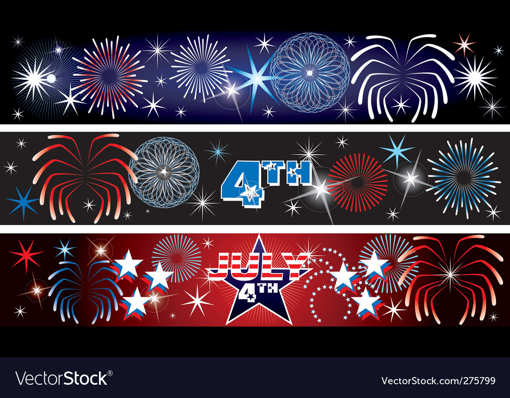 July 4th firework banners vector