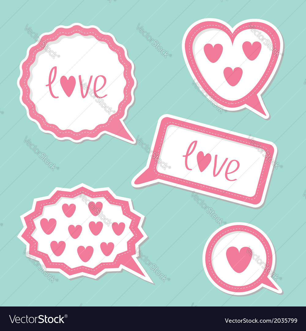 Speech bubble set with hearts and word love card vector