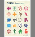 Internet icons set drawn by color pencils vector image
