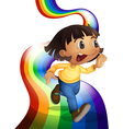 A rainbow with a child playing vector image vector image