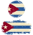 Cuban round and square grunge flags vector image