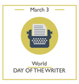Day of Writer vector image