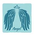 elegant grunge emblem with angel wings vector image