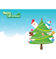 Santa Christmas Tree Decoration With Ornaments vector image