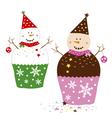 Snowman Cupcakes vector image