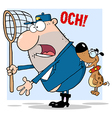 Dog Biting A Dog Catcher vector image vector image