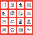 set of 16 school icons includes college academy vector image