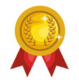 championship medal with wreath isolated icon vector image