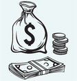 Stack dollars banknotes moneybag and coins vector image