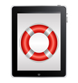 Tablet Computer With Red Life Buoy vector image