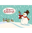 Snowman with gifts Greeting card vector image vector image