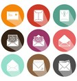 Solid envelope icons shadow vector image