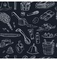 Sauna accessories doodle seamless pattern Sketch vector image