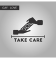 black and white style icon gays hand condoms vector image