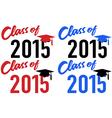 Class of 2015 school graduation date cap vector image