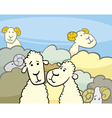 flock of sheep cartoon vector image