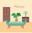 rest room chair cabinet pot plant table lamp vector image